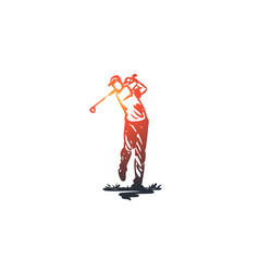 golf training relax hobby sport concept hand vector image