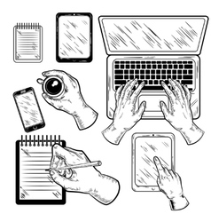Graphic Workplace With Hands Set vector