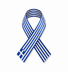 greek flag stripe ribbon on white background vector image