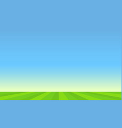 Green pasture and blue sunny sky vector