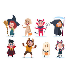 halloween kids cartoon children vector image