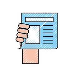 Hand human with newspaper journal isolated icon vector