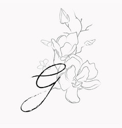 handwritten line drawing floral logo monogram g vector image