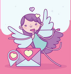 Happy valentines day cupid with arrow letter love vector