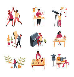 Hobbies leisure activity or pastime art and vector