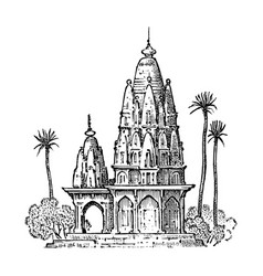 indian national temple ancient old building hand vector image