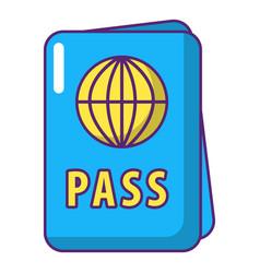 international passport icon cartoon style vector image