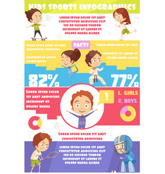 Kids sport infographics vector