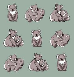 Koala seamless pattern 1 vector