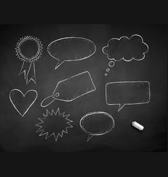 line art grunge chalk drawn speech bubbles vector image