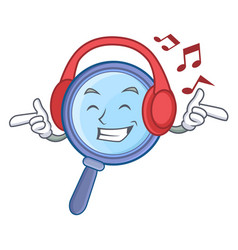 Listening music magnifying glass character cartoon vector