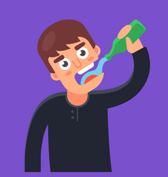 Man drinks water from a glass bottle vector