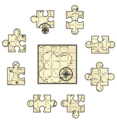 Map jigsaw vector