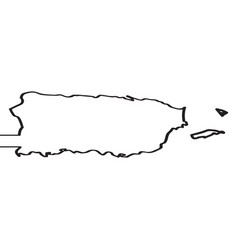 Map of puerto rico continous line vector