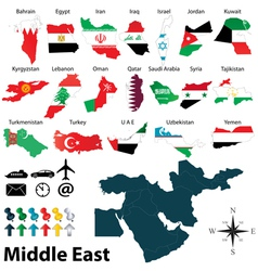 Maps with flags middle east vector