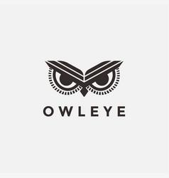 minimalist owl eye logo icon template vector image
