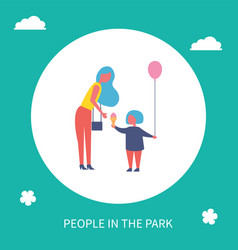 mother and kid with ice cream in park cartoon icon vector image