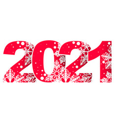 new 2021 year red number with christmas ornament vector image