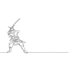 one continuous line drawing young bravery vector image