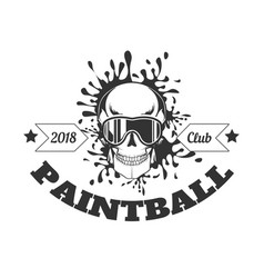 Paintball club 2018 monochrome logotype with skull vector