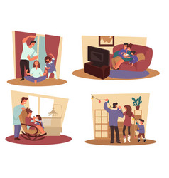 parents with kid and winter holidays season family vector image