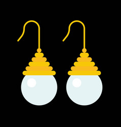 pearl hook earring jewelry related icon flat vector image