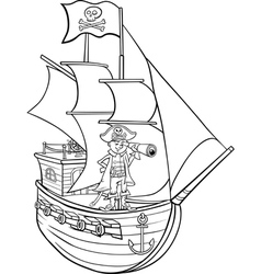 pirate on ship cartoon coloring page vector image