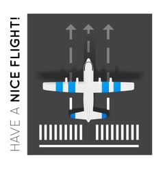 Plane on the runway at the airport Top view vector
