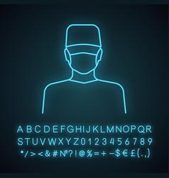 Plastic surgeon neon light icon vector