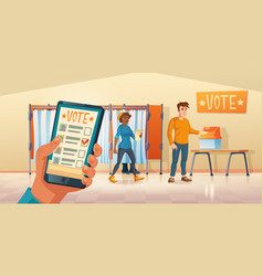 polling place and mobile app for vote vector image