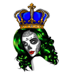 queen death portrait a skull with a crown vector image