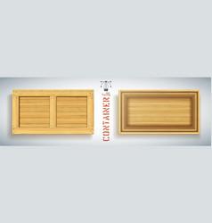 Realistic wooden open empty container vector