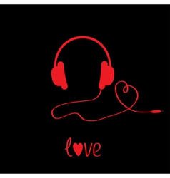 Red headphones with cord Black background Love vector image