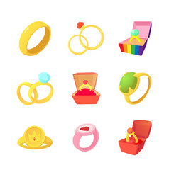 ring icon set cartoon style vector image