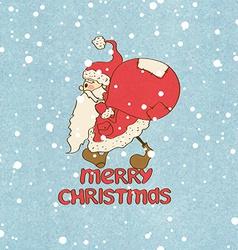 Santa Claus stuck and gift bag vector