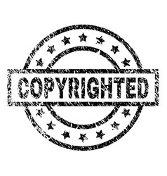 Scratched textured copyrighted stamp seal vector