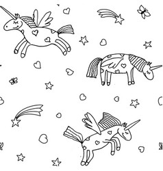 seamless pattern from cartoon unicorns vector image