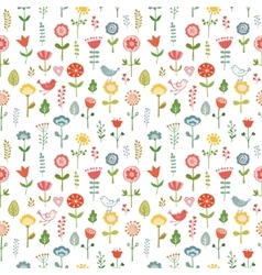 seamless pattern made of doodle flowers vector image