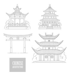 set chinese architectural landmarks vector image