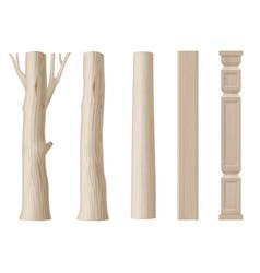 Set of pillars of wood vector