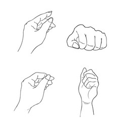 Set of sketch human hand gestures on white vector