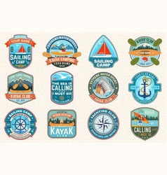 set sailing camp canoe and kayak club patches vector image