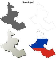 Sevastopol blank outline map set - russian version vector