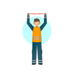 special worker in reflective clothing showing vector image