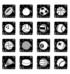 Sport balls icons set grunge vector