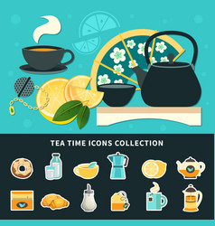tea time icons collection vector image