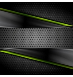 Tech dark glossy background with perforated metal vector image