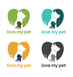 Template logo design with dog and cat in heart vector