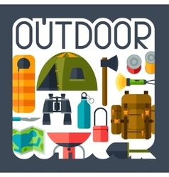 Tourist background with camping equipment in flat vector image