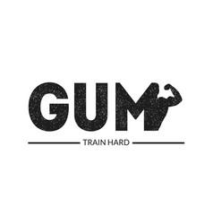 train hard banner gym body training advertising vector image